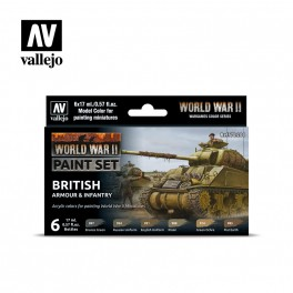 Vallejo WWII British Armour and Infantry Paint Set